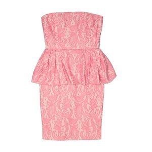 NWOT Zara Pink Lace Peplum Strapless Dress
